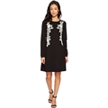CeCe Womens Embroidered Lace A-Line Sweater Dress
