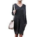 Spadehill Womens Sweater Long Sleeves Pollover Dress With Pockets