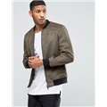 Asos River Island Faux Suede Bomber Jacket In Khaki