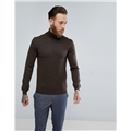 Asos ASOS Muscle Fit Merino Roll Neck Sweater In Brown
