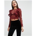 Asos ASOS Premium Lace Top with Ruffle Front