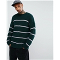 Asos ASOS Textured Striped Sweater In Bottle Green