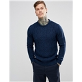 Asos River Island Cable Knit Sweater In Navy