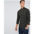 Asos Selected Homme Regular Fit Oxford Shirt With Embroidered Badge