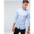 Asos Selected Homme Shirt With Concealed Button Down Collar In Slim Fit