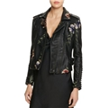 BLANKNYC Studded Embroidered Faux Leather Motorcycle Jacket - 100% Exclusive