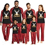 IFFEI Matching Family Pajamas Sets Christmas PJs with Letter and Plaid Printed Long Sleeve Tee and Pants Loungewear