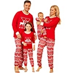 PopReal Family Pajamas Matching Sets Matching Christmas PJs with Reindeer Antlers Letter Printed Plaid Pants Sleepwear