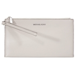 Michael Kors Mercer Large Zip Leather Clutch (Cement)