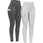 PHISOCKAT 2 Pack High Waist Yoga Pants with Pockets, Tummy Control Capris Leggings, Workout 4 Way Stretch Yoga Leggings