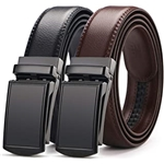 [2 Pack] Mens Belt,West Leathers Slide Ratchet Belt for Men with Genuine Leather Perfect Fit Waist Size up to 44 inches
