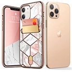 i-Blason Cosmo Wallet Case for iPhone 12, iPhone 12 Pro 6.1 inch (2020 Release), Slim Designer Wallet Protective Case with Card Holder (Marble)
