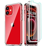 COOLQO Compatible for iPhone 12 /iPhone 12 Pro Case 6.1 Inch, with [2 x Tempered Glass Screen Protector] Clear 360 Full Body Silicone Protective 12 ft Shockproof iPhone 12/12 Pro C