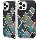 tharlet iPhone 12 Case/iPhone 12 Pro Case 5G, Glossy Bronzing Geometric Marble Case Hard PC Soft TPU Bumper Protective Shockproof Cover for iPhone 12/iPhone 12 Pro 2020 - Black Gre