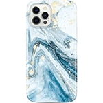 JIAXIUFEN Gold Sparkle Glitter Case Compatible with iPhone 12 and iPhone 12 Pro Marble Design Slim Shockproof TPU Soft Rubber Silicone Cover Phone Case 6.1 inch 2020 Blue