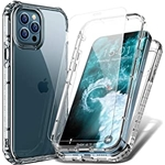 FLOVEME Compatible with iPhone 12 Case iPhone 12 Pro Case with Screen Protector Tempered Glass (2 Pack) 6.1inch 2 in 1 Clear Phone Cases Compatible for iPhone 12 iPhone 12 Pro 2020