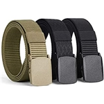 West Leathers [3 Pack] Nylon Military Tactical Men Belt Webbing Canvas Outdoor Web Belt with Plastic Buckle Fits Pant Up to 45
