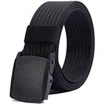 LionVII Mens Nylon Belt, Military Tactical Belts Breathable Webbing Canvas Belt with Plastic Buckle for Pants Size Below 46
