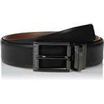 Perry Ellis Portfolio Mens Feather Edge Etched Buckle Soft Touch Belt
