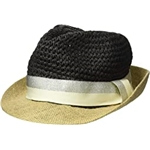 Steve Madden Paper Crochet & Jute Short Brim Fedora with Two-Tone Band