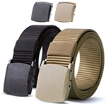 JASGOOD Nylon Military Tactical Men Belt 2 Pack Webbing Canvas Outdoor Web Belt with Plastic Buckle gift for Men