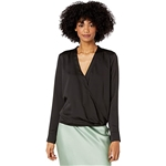 BCBGMAXAZRIA Wrap Hem Long Sleeve Woven Top