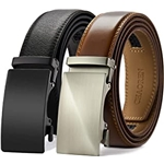 Chaoren Leather Ratchet Belt 2 Pack Dress with Click Sliding Buckle 1 3/8 in Gift Set Box - Adjustable Trim to Fit