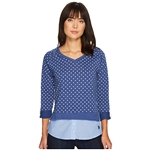 U.S. POLO ASSN. Polka Dot French Terry and Woven Twofer Top