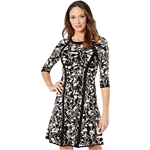 Taylor Elbow Sleeve Piped Floral Sweater Dress
