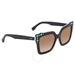 Fendi Brown Gradient Square Sunglasses with Turquoise Studs FF 0260/S 3H2/53 52 FF 0260/S 3H2/53 52