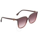 Fendi F is Fendi Violet Shaded Square Ladies Sunglasses FF0318S8CQ3X57 FF0318S8CQ3X57