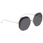 Fendi Glass Grey Geometric Ladies Sunglasses FF0358SKB7IR63 FF0358SKB7IR63