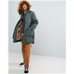 Asos ASOS Heavyweight Parka With Fleece Lining And Faux Fur Trim in Khaki
