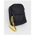 Asos ASOS DESIGN backpack in black with yellow slogan zip pull