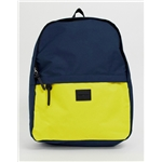 Asos ASOS DESIGN backpack in navy and yellow color block