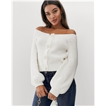 Asos ASOS DESIGN chunky bardot cardigan with button detail