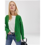 Asos ASOS DESIGN chunky cardigan in moving rib with statement button