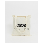 Asos ASOS DESIGN tote bag in beige with text print
