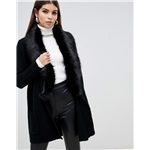 Asos Lipsy heavy cardigan with faux fur collar in black