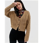 Asos Monki cropped cable knit cardigan in beige