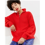 Asos Na-kd knitted zip cardigan in red