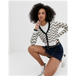 Asos River Island cardigan with chevron stripes in white